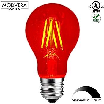 Modvera Red LED Light Bulb A19 3 Watt E26 Base 15,000 Hour Lifespan Clear Glass Lights Up Red