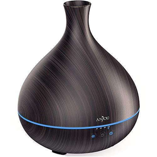 Essential Oil Diffuser, One Fill for 12hrs Consistent Scent & Aromatherapy, Anjou 500ml Wood Grain Cool Mist Humidifier, World's First Diffuser with Patented Oil Flow System for Home & ()