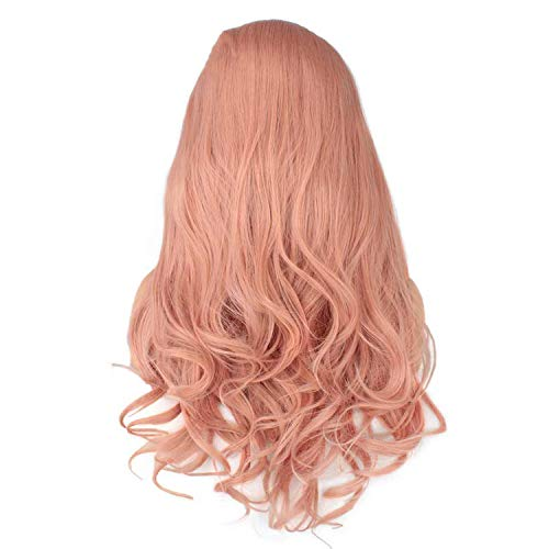 Leeven 24'' Pink Orange Purple Lace Front Wig Long Natural Wavy Synthetic Lace Front Wigs For Women 613 Blonde Wigs-in Synthetic None,Pink,24inches]()