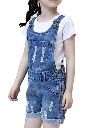 Farvalue Cute Overalls Shorts for Big Girls Summer Denim Bib Jean Blue Overalls (Jeans Blue, 6-7Years)