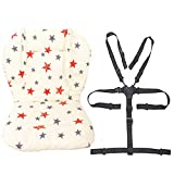 Twoworld Baby Stroller/High Chair Seat Cushion Liner Mat Pad Cover Resistant and High Chair Straps (5 Point Harness) 1 Suit (Stars)