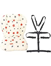 Twoworld Baby Stroller/High Chair Seat Cushion Liner Mat Pad Cover Resistant and High Chair Straps (5 Point Harness) 1 Suit