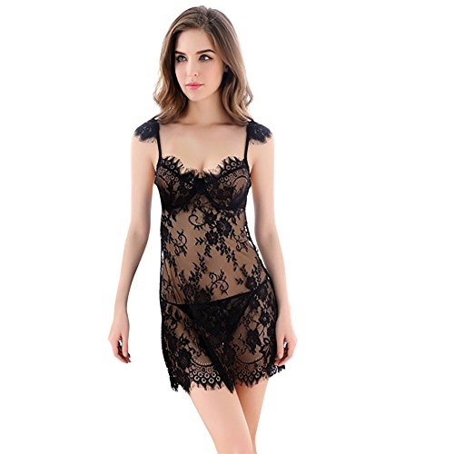 Realdo Women Lingerie Sleeveless Underwear Lace Dress G-string Set
