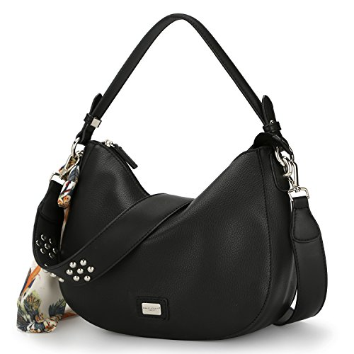 David Handbag Bag Scarf Shoulder With Leather Jones Style Zipper Travel Body Bag Multicolor Faux Hobo Purse Wallet Women's Fashion Girl Cross Ladies Bags Black Black Messenger Smooth Saddle rr1fwqC