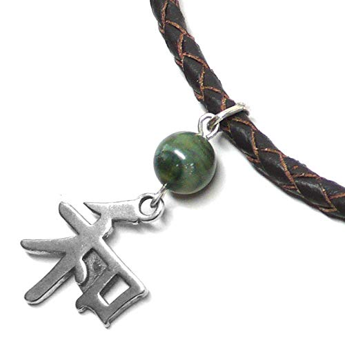 Sterling Silver Chinese Peace Sign Leather Necklace Green Jasper Asian Sterling Silver Necklace