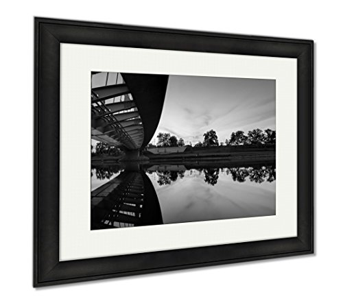 Ashley Framed Prints Columbus Ohio Panoramic From Under Main Street Bridge Dusk, Wall Art Home Decoration, Black/White, 26x30 (frame size), Black Frame, - Shops Main Park City Street