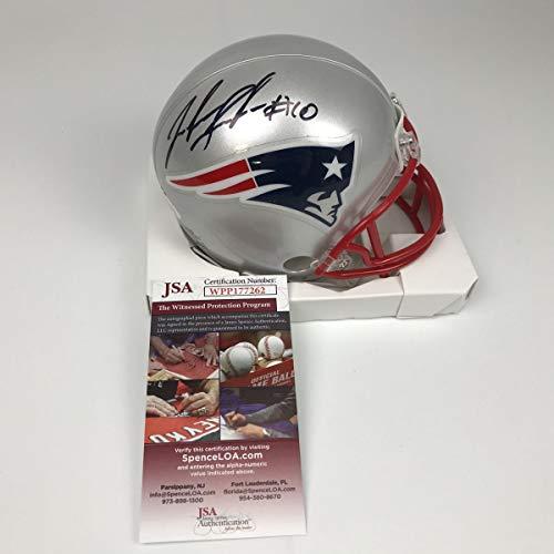 (Autographed/Signed Josh Gordon New England Patriots Football Mini Helmet JSA COA)