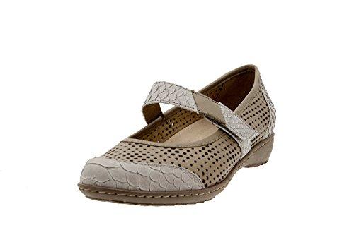 Calzado mujer confort de piel Piesanto 8756 zapato velcro plantilla extraíble cómodo ancho Visón