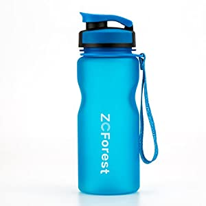ZCForest 600ml Sports Water Bottle Wide Mouth BPA-Free Water Cups for Students,Travelers,Scalers,Outdoor and Indoor Activities--blue
