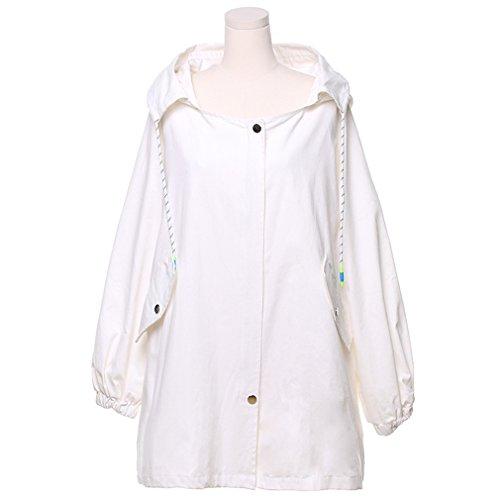 Encapuchado Ocio Larga E Taille Casual Invierno Blanco Outwear Otoño Manga Chaquetas Coat Mujer Honghu Abrigos xfXqnYt