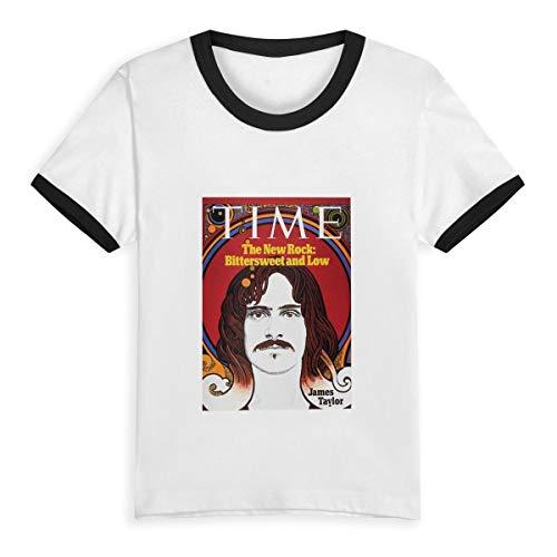Kid T Shirt James Taylor Time 1971 3D Tee Baseball Short Sleeve Cotton Shirts Top for Boys Girls Kids Black