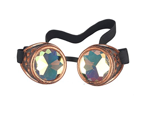 Lelinta Steampunk Rave Glasses Goggles with Rainbow Crystal Glass Lens,Red - Glass Red Fantasy