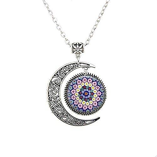 MILLEFIORI Pendant - Millefiori Necklace - Italian Jewelry - Thousand Flowers - Italian Glass - Flower Moon - Pendant Millefiori Flower