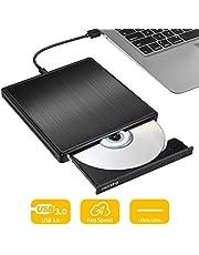 VicTsing External CD DVD Drive, USB 3.0 Portable 0.62inch Ultra-Slim DVD/CD ROM Writer Rewriter Burner, Plug and Play, Optical Drive Burner Writer Compatible with Laptop/MacBook/Desktop/PC- Black