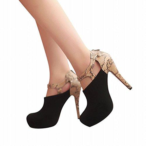 Carol Shoes Sexy Womens Zipper Multicolor Snakeskin Pattern Fashion Platform High Heel Ankle Dress Boots Black XPPritu7i
