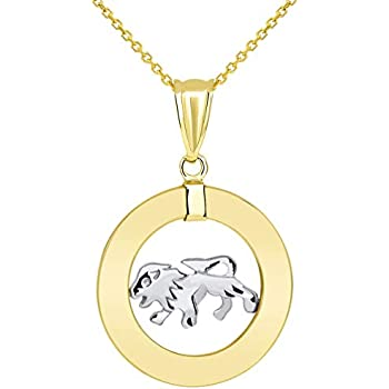 14k Yellow Gold Key with Top Open Circle Tube Pendant