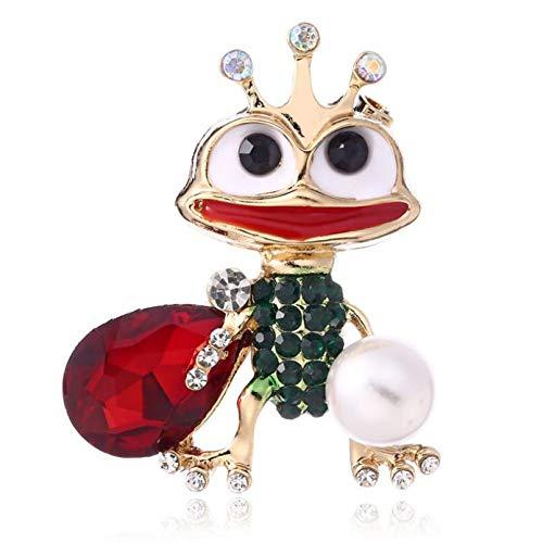 HUNANANA Frog Rhinestone Pearl Pins Metal Brooch for Women Fashion Jewelry Clothing Accessories Personality Enamel Pin