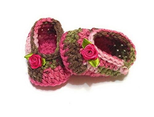 (MiC Crafts Handmade Baby Booties 5-7 lbs baby preemie/newborn Pink/Purple/Red)