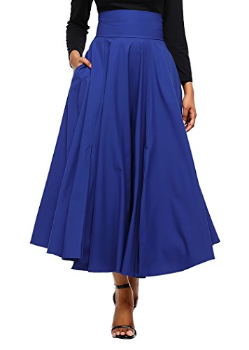 (Diukia Women High Waist Casual A-Line Pleated Belted Long Maxi Skirt with Pocket X-Large Blue)