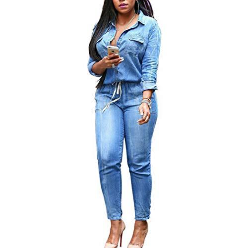 コロニアル寛解瞑想レディースロングスリーブボタンダウンデニムショートパンツロンパースボディスーツポケット付き (Color : ブルー, サイズ : M)