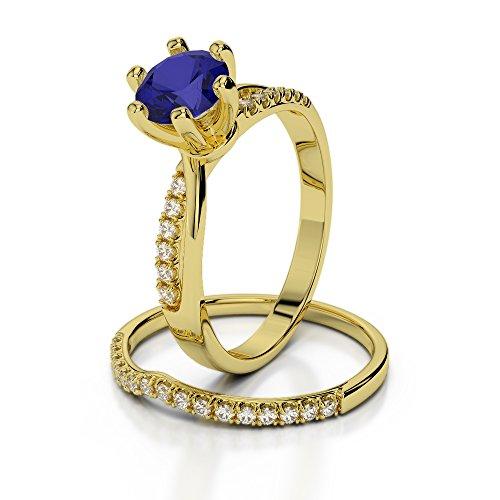 Or jaune 18carats 1CT G-H/VS sertie de diamants ronds Cut Saphir et mariée Bague de fiançailles et ensemble de Agdr-2021
