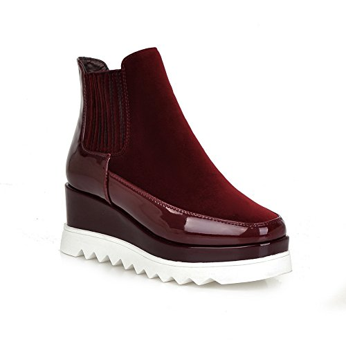 Ankle Travel Closed Womens Toe Boots Closure Urethane MNS01997 1TO9 Platform Claret Wrap Cushioning No Boots Waterproof WnxBSww4zC