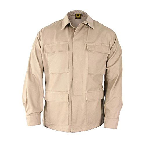 Propper BDU Coat Short Length 65/35 Polyester/Cotton Ripstop Khaki LS (Ripstop Bdu Khaki Shorts Combat)