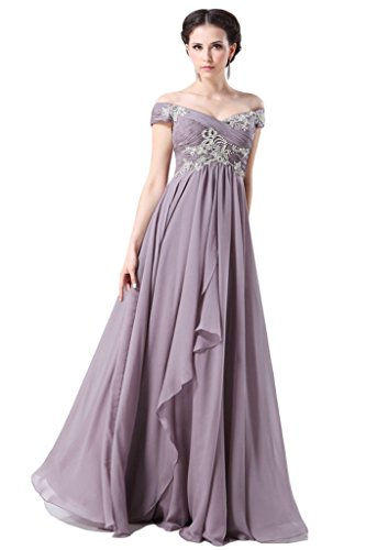 Snowskite Elegant Off Shoulder Chiffon Prom Party Formal Dresses 14 Light Purple by Snowskite