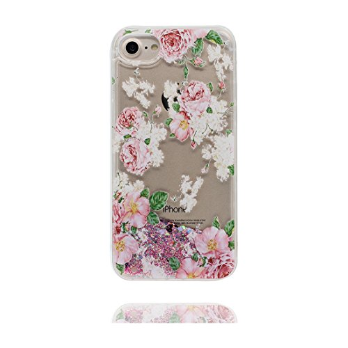 "iPhone 7 Plus Coque, Cover étui iPhone 7 Plus 5.5"", Bling Bling Glitter Fluide Liquide Sparkles Sables, iPhone 7 Plus Case, Multiflora Rose anti- chocs"