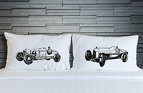 - Vintage Race Car pillowcase set, racecar Pillow fighting pillowcases, pillow covers room decor, Pillow for Boys, twins, matching, cars, auto