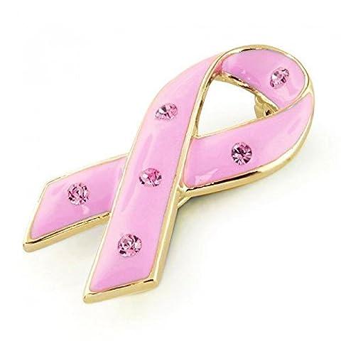 Bling Jewelry Enamel Pink Ribbon Pin Rhinestones
