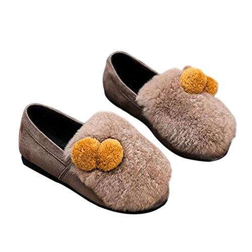 Zhuhaixmy Frühling Kinder Mädchen Flaumig Plüsch Prinzessin Shoes Warm Soft Single Schuhe Yellow