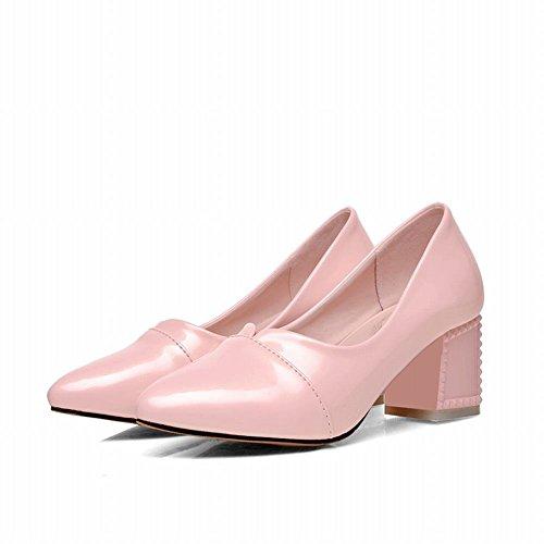 Latasa Dames Mode Ruige Middel Hoge Hak Pumps Roze Schoenen