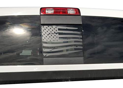 Flag Dodge Ram - Elevated Auto Styling Compatible with Dodge RAM Back Middle Window Distressed American Flag 2009-2018 (Black)