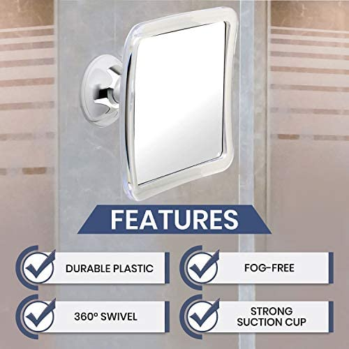 Fogless Shaving Shower Mirror Bathroom Anti-Fog Wall Suction Cup Mount