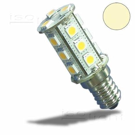 LED Isolicht E14 bombilla, 10-30V/DC, 18SMD, de 3 W, luz blanca cálida: Amazon.es: Iluminación