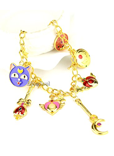 BlingSoul Sailor Moon Bracelet Jewelry Merchandise - Charm Jewelry Gift Ideas for Girls and Women -