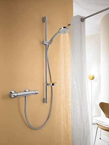 GOALDEAL Thermostatic Shower Mixer Set, Hand Shower, 2 Spray Modes, Chrome (Set Connector Vario)