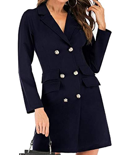 Winwinus Women Stylish Solid Double-Breasted Bodycon Blazer Suit Coat Tops Navy Blue M