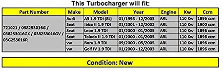 Amazon.com: GOWE Turbocharger for Turbo 721021 038253016G 038253016GX Turbocharger for Audi A3 / Seat Ibiza / Leon / Toledo 1,9 TDI (1998-2005) 110 Kw B8: ...