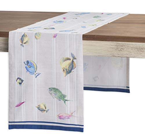 Maison d' Hermine Poisson 100% Cotton Table Runner - Single Layer 14.5 Inch by 72 Inch