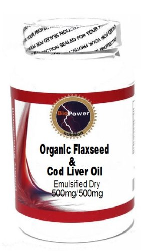 Liver Cod Primrose Oil Evening (Organic Flaxseed and Cod Liver Oil (Emulsified Dry) 500mg/500mg 100 Capsules # BioPower Nutrition)