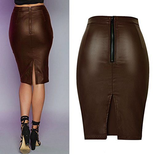 High Alta Leather Back Skirts Brown Zhhlaixing Skirt Waist Stretch Pu Split For Womens Qualità Slim Motorcycle qEdnHnxgA