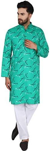男性の綿の長袖パジャマクルタの夜ヨガドレスインドクルタパジャマセット