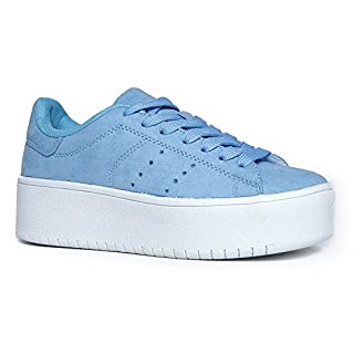 J. Adams Hero Platform Sneakers for Women - Casual Lace Up Fashion Tennis Shoes Dusty Blue