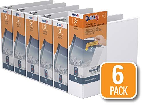 - QuickFit View Binder, 3 Inch, Angle D Ring, White, 6 Pack (87050-06)
