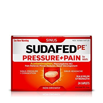 Sudafed PE Pressure + Pain Caplets, Sinus Pain Relief, 24 Count - Pack of 5