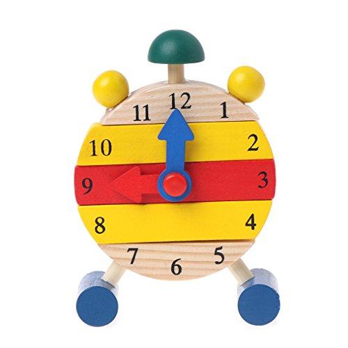JAGENIE取り外し可能な木製の時計のおもちゃブロック初期の教育時間時計おもちゃ赤ちゃんToyChristmas新年ギフト、1 PC、ランダム配信