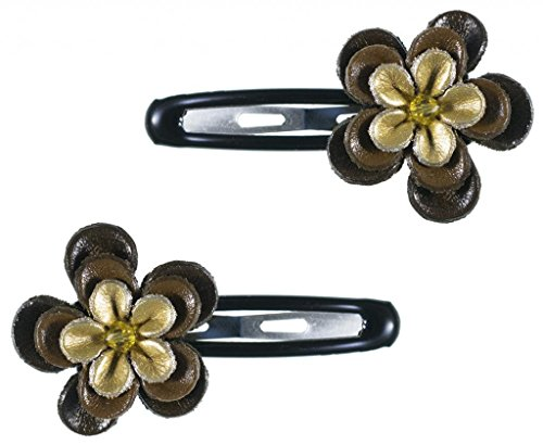Zelda Matilda – Luxury Collection – Magnificent Brown and Gold Genuine Leather Flower – 2 Hair Clips Set with Center Bead Embellishment