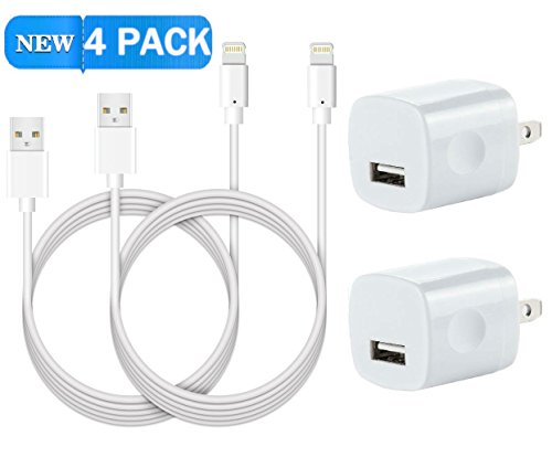 iPhone 8 X Charger, 5W 1A Certified Universal USB Travel Power Wall Adapter with [Heavy Duty] 10 FEET/ 3 METER Lightning to USB Cable iOS10 (2 Pack)